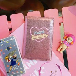 "Handbags - 🆕Pink Passport Cover by Milk Bear ""Heart Breaker"""